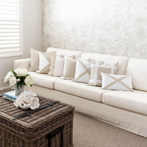 Mirage Haven EASTWOOD White and Jute Criss Cross Cushion Cover 50 cm by 50 cm