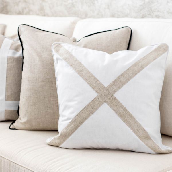 Mirage Haven EASTWOOD White and Jute Cross Cushion Cover 50 cm by 50 cm