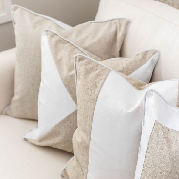 Mirage Haven EASTWOOD White and Jute Panel Cushion Cover 50 cm by 50 cm