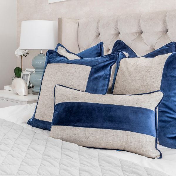 Mirage Haven FLYNN Dark Blue and Jute Mid Strip Velvet Cushion Cover 30 cm by 50 cm