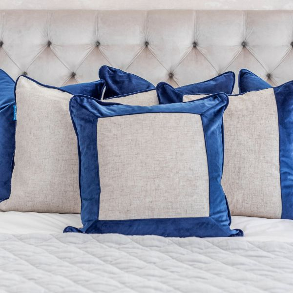 Mirage Haven FLYNN Dark Blue and Jute Thick Border Velvet Cushion Cover 50 cm by 50 cm