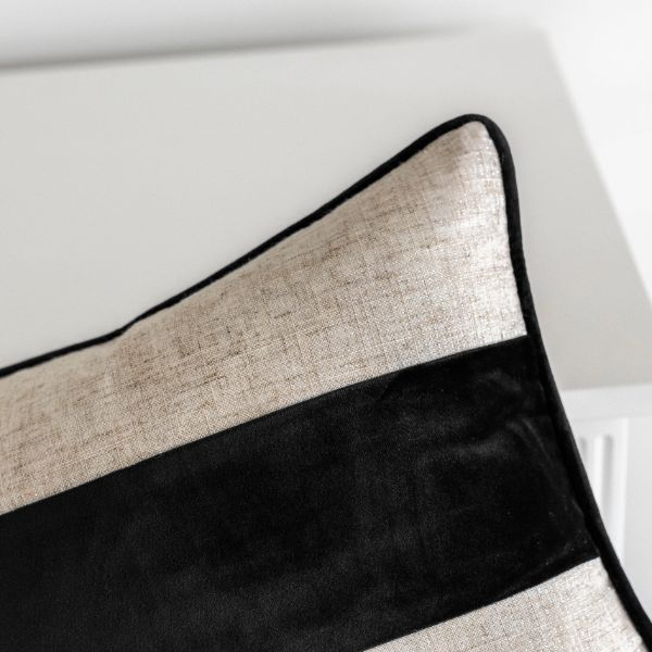 Mirage Haven FLYNN Black and Jute Mid Strip Velvet Cushion Cover 30 cm by 50 cm