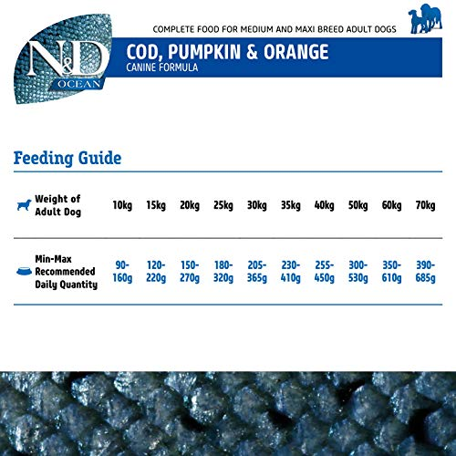 Farmina N&D Dry Dog Food Adult Medium and Maxi Breed Grain Free Ocean Codfish, Pumpking and Orange