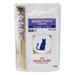Royal Canin Chunks in Gravy Sensitivity Control Chicken and Rice Feline Wet Pouches (100 gm) -Pack of 12 - Pet Chum