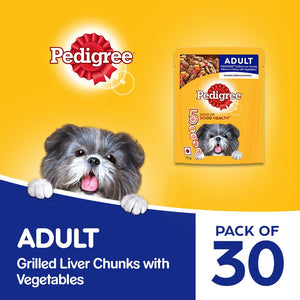 Pedigree Adult Wet Dog Food, Grilled Liver Chunks Flavour with Veggies, 30 Pouches(30 X 70g) - Pet Chum