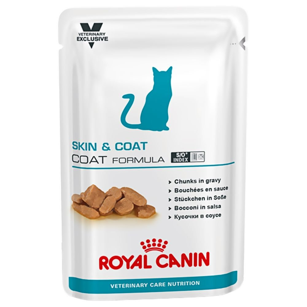 Royal Canin Chunks In Gravy Skin and Coat Formula Feline Wet Pouches (100gm) -Pack of 12 - Pet Chum