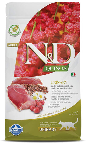 FARMINA N&D Quinoa Urinary Dry Cat Food, Adult, Grain-Free, 0.3-5 kg, Duck Cranberry and Chamomile