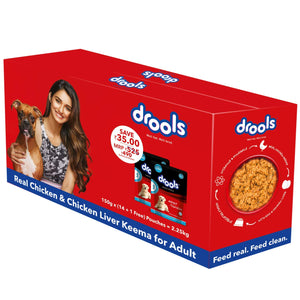 Drools Real Chicken and Chicken Liver Keema for Adult Dog, Pack of 14 with Free 1 Pouch, 150 g Each - Pet Chum