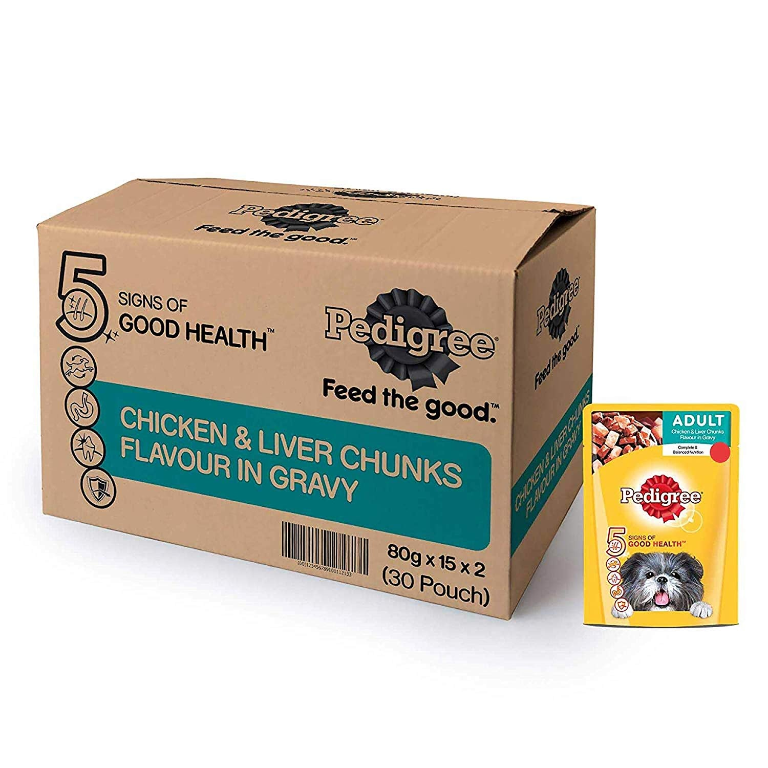 Pedigree Adult Wet Dog Food, Chicken and Liver Chunks in Gravy, 30 Pouches (30x80g) - Pet Chum