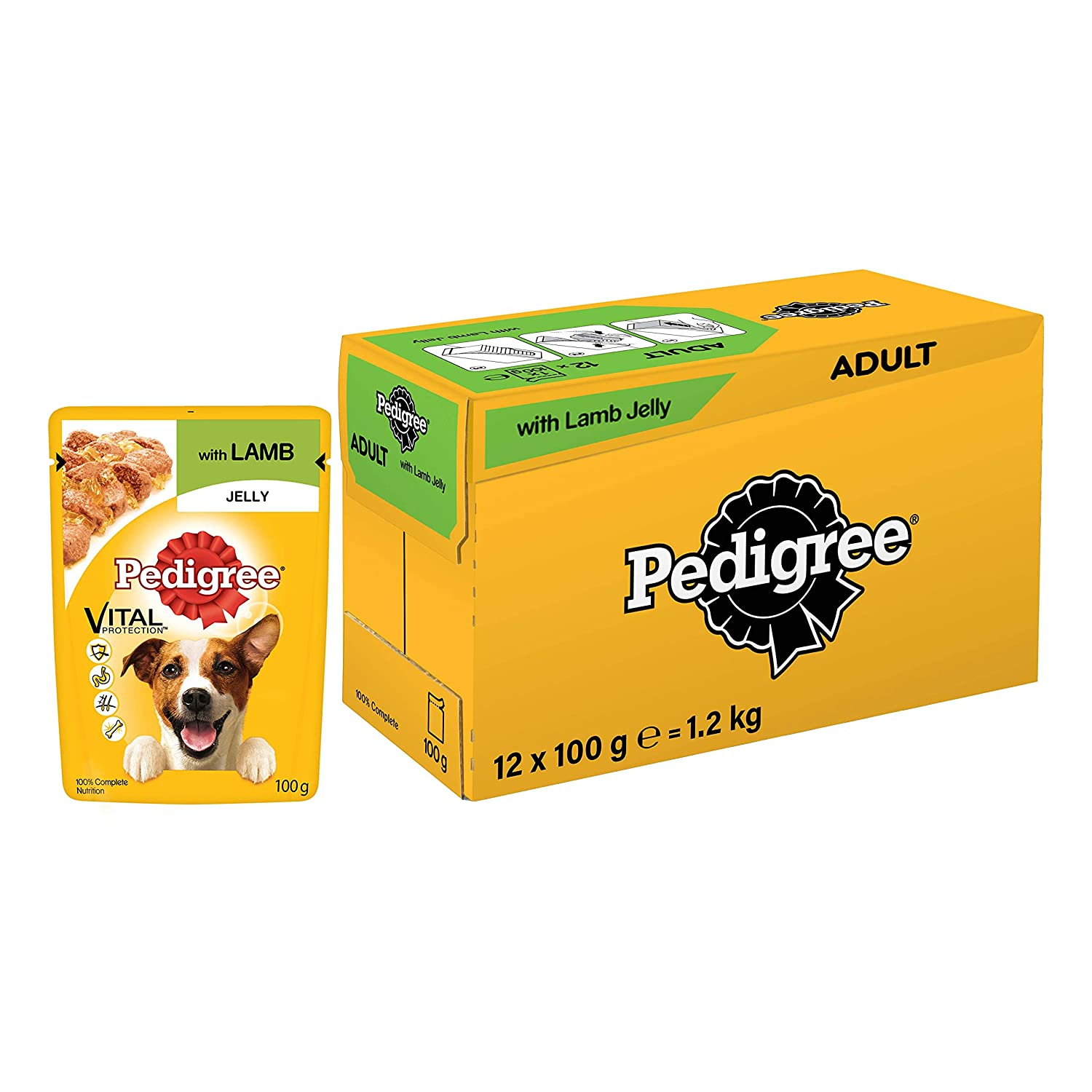 Pedigree Vital Protection Adult Wet Dog Food, Lamb in Jelly, 30 Pouches (30x100g) - Pet Chum