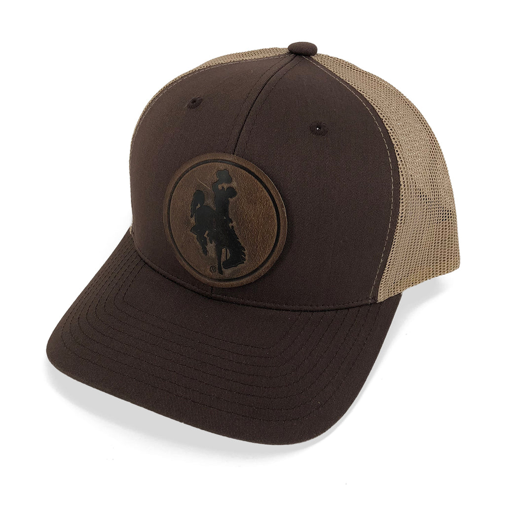 Steamboat Leather Circle Patch Trucker Hat - Brown