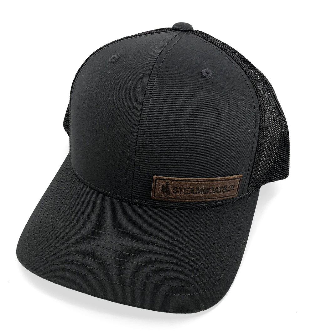 Steamboat & Co. Leather Patch Trucker - Charcoal