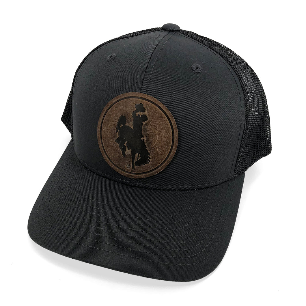 Steamboat Leather Circle Patch Trucker Hat - Charcoal