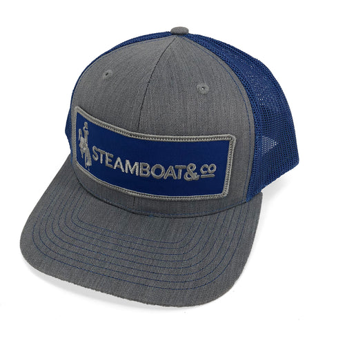 Steamboat & Co Patch Trucker Hat - Royal Blue & Grey