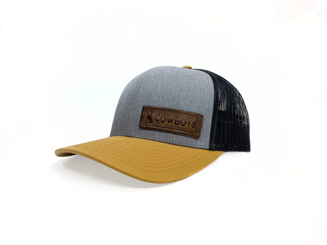 Cowboys Tri-Color Leather Patch Hat - Amber/Grey/Black