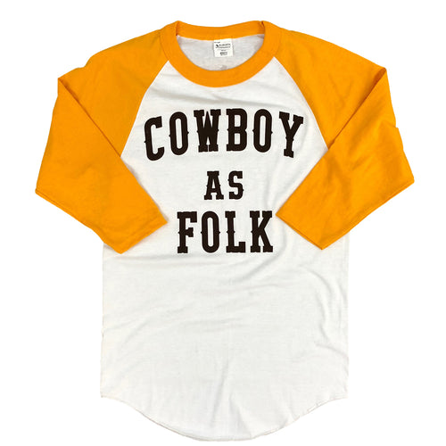Men's Cowboy As Folk 3/4 Raglan - White/Gold