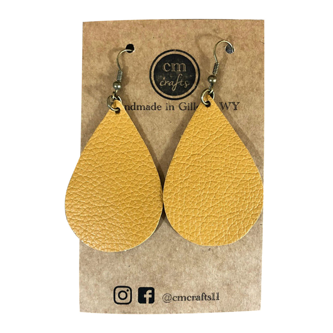 Pokes Leather Earrings - Gold