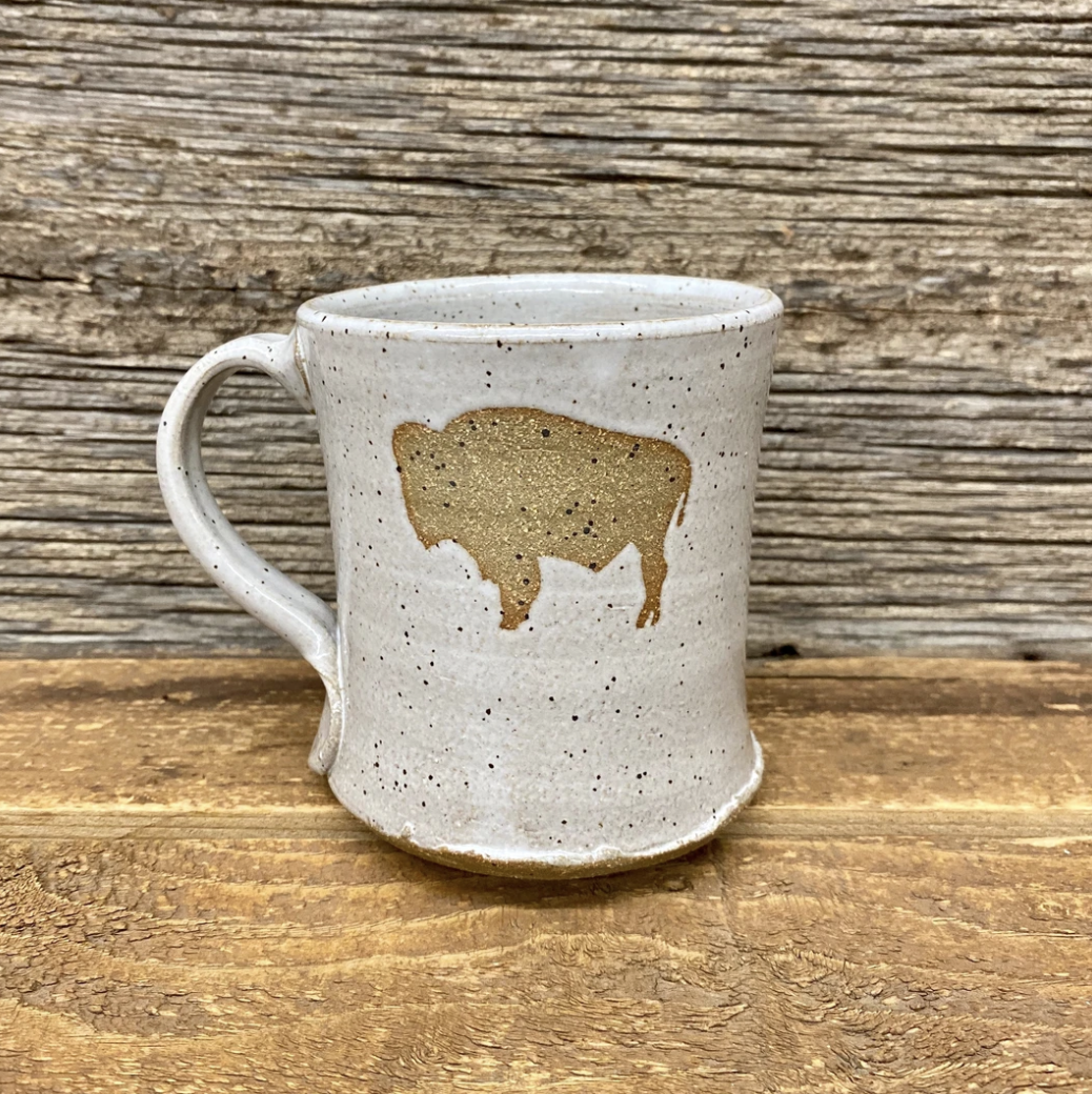 Wyoming Flag Bison Mug - White Freckle