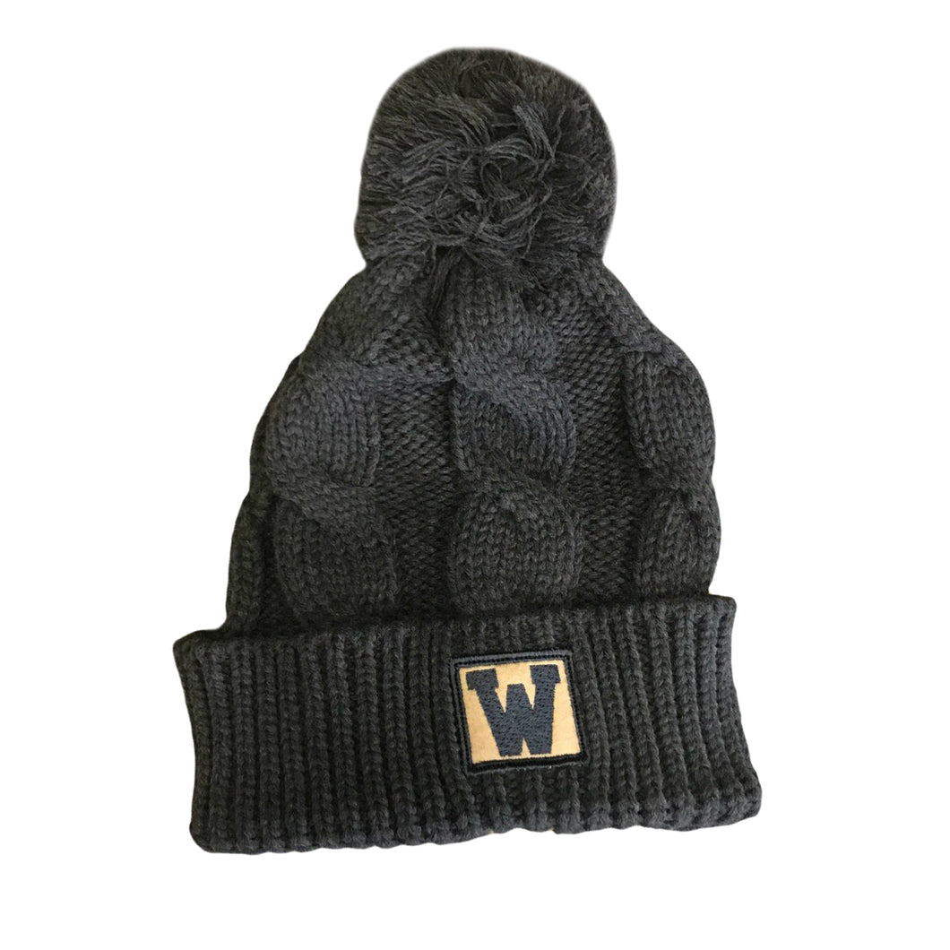 'W' Cable Knit Beanie - Charcoal