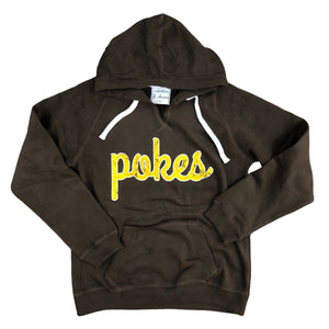 Women's Pokes V-Neck Sueded Hoodie - Brown