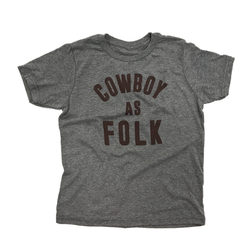 Youth Cowboy as Folk Tee - Heather Grey