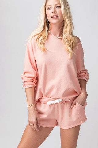 Trend:notes Mineral Enzyme Wash French Terry Row Edge Bottom Sweatshirt - Peach available at The Good Life Boutique