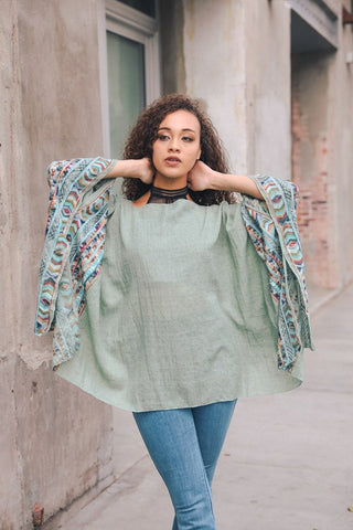 Leto Collection Geometric Embroidered Sleeve Kimono w/Armholes - Gray available at The Good Life Boutique