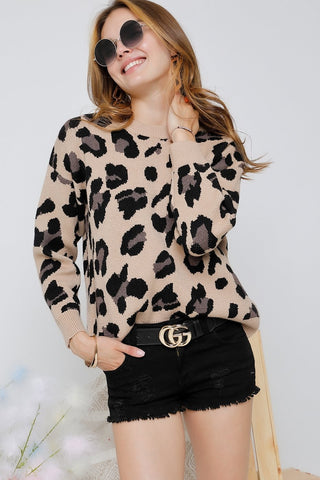 Adora Round Neck Leopard Printed Knit Sweater available at The Good Life Boutique
