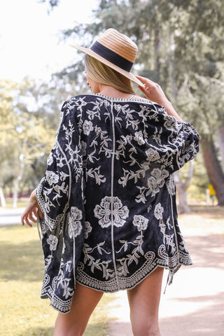 Leto Collection Tie Dye Cotton Embroidery Kimono available at The Good Life Boutique