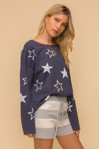 Hem & Thread Embroidered Star Screen French Terry Pullover available at The Good Life Boutique