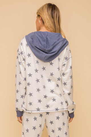 Hem & Thread Half Zip-Up Vintage Star Print Hoodie Pullover available at The Good Life Boutique