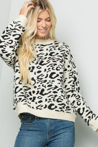 Knit Cheetah-print Sweater