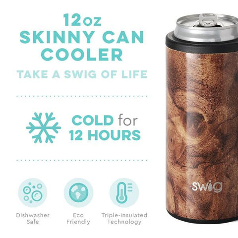 Swig Swig Skinny Can Cooler - Black Walnut available at The Good Life Boutique