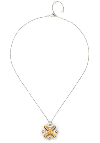 French Kande Mixed Metal Arles Necklace with Swarovski Silver available at The Good Life Boutique
