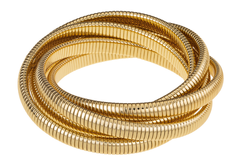 Designs by Janis Savitt INC Janis Savitt - High Polished Yellow Gold 6 row Cobra Bracelet - Small Wrist available at The Good Life Boutique