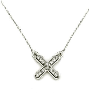 French Kande Petite Swarovski French Kiss Necklace Silver available at The Good Life Boutique