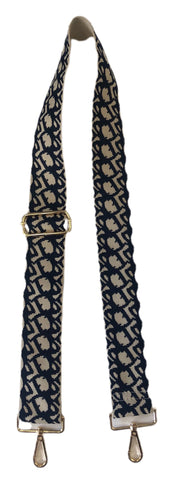 "Cream Ground 2"" Bag Strap - Cream/Navy"