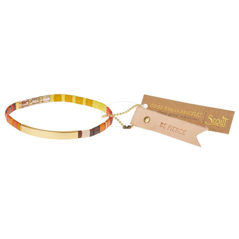 Good Karma Miyuki Bracelet - Be Fierce - Sunset/Gold