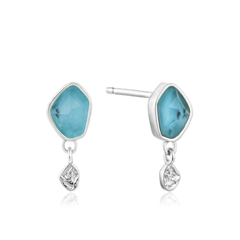ANIA HAIE Turquoise Drop Silver Stud Earrings available at The Good Life Boutique