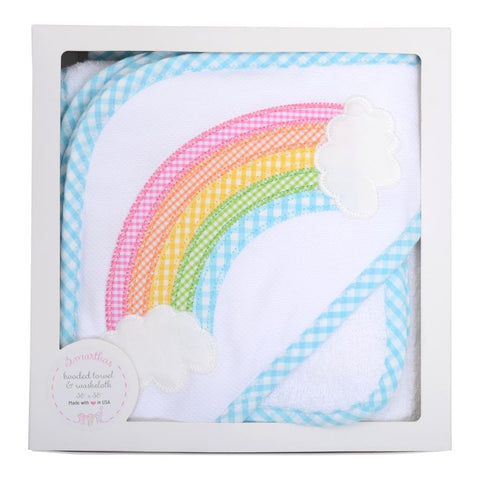 Rainbow Hooded Towel & Washcloth Boxed Set