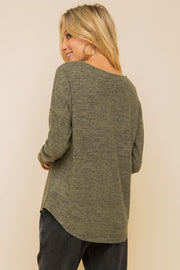 Melange Soft Brushed Dolman Top - Olive