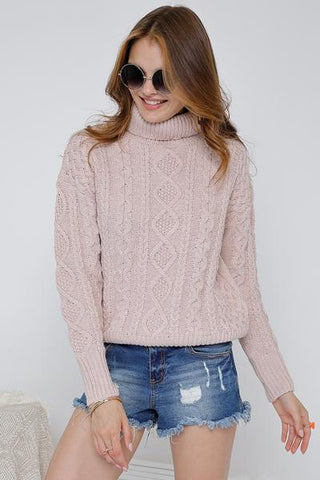 Solid Mock Neck Long Sleeve Sweater