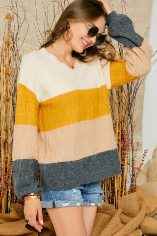 Adora Multi Stripe Color Block Puffy Sleeve V Neck Sweater available at The Good Life Boutique