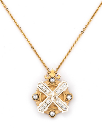French Kande Mixed Metal Arles Necklace with Swarovski Stack Gold available at The Good Life Boutique