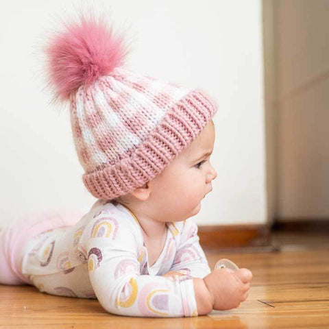 Huggalugs Rosy Pink Buffalo Check Pom Pom Beanie Hat available at The Good Life Boutique