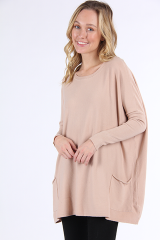 Oversized 2 Pocket Sweater - Taupe