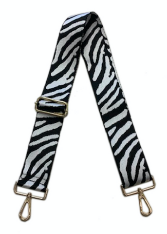 AHDORNED Animal Print Adjustable Bag Strap - Black/White Zebra available at The Good Life Boutique