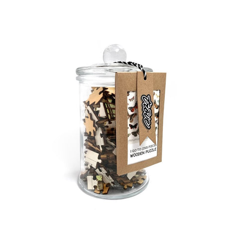 I Go to (250) Pieces Wooden Puzzle Butterflies + Moths in Glass Jar