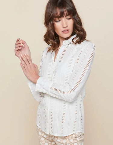 Spartina Spartina Brigette Shirt Pearl White Stripe available at The Good Life Boutique