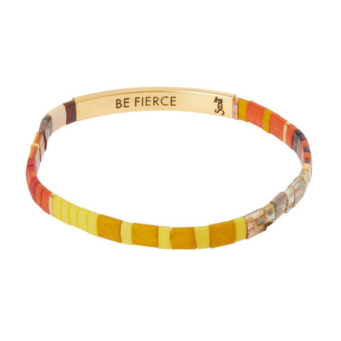Scout Curated Wears Good Karma Miyuki Bracelet - Be Fierce - Sunset/Gold available at The Good Life Boutique